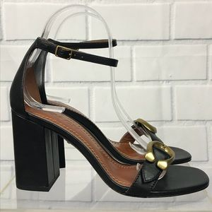 Coach Maya Leather Block Heel Ankle Strap Sandal 7